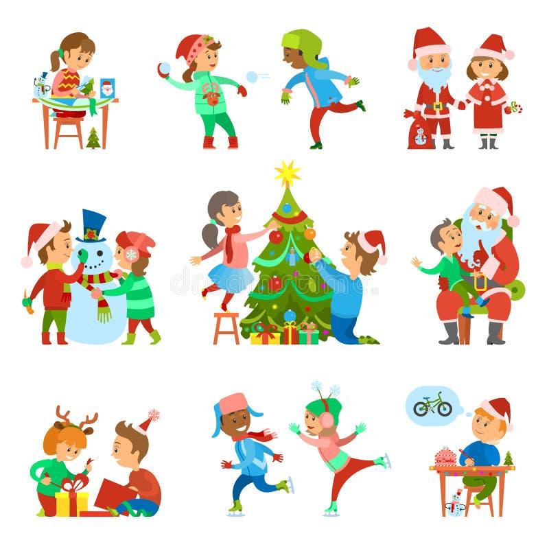 Vecteur d'ensemble d'activités de personnes de vacances de Noël illustration libre de droits