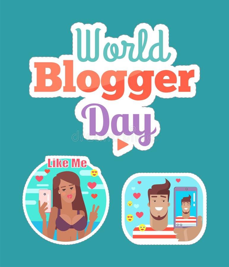 Vecteur d'ensemble d'autocollant de femme et d'homme de jour de Blogger du monde illustration libre de droits