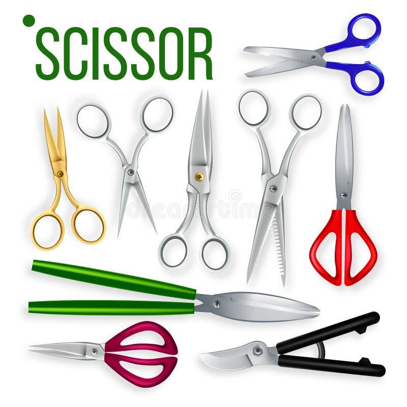 Vecteur d'ensemble de ciseaux Objet de métier en métal Coupez l'outil Papier, jardin, coiffeur Symbol Équipement en acier de coup illustration libre de droits