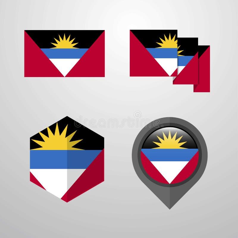 Vecteur d'ensemble de conception de drapeau de l'Antigua-et-Barbuda illustration de vecteur