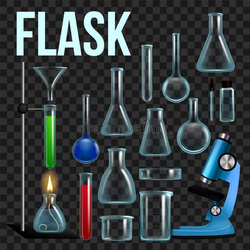 Vecteur d'ensemble de flacon de laboratoire Verrerie, becher Équipement vide pour des expériences de chimie Instruments chimiques illustration libre de droits