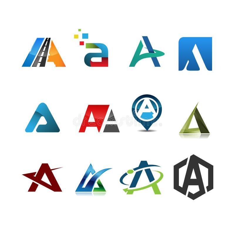 Vecteur d'ensemble de logo de la lettre initiale A illustration stock