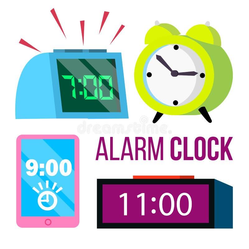 Vecteur d'ensemble de réveil Temps Réveillez-vous tôt date-limite Montre de sonnerie de matin Classique, électronique Bande dessi illustration libre de droits