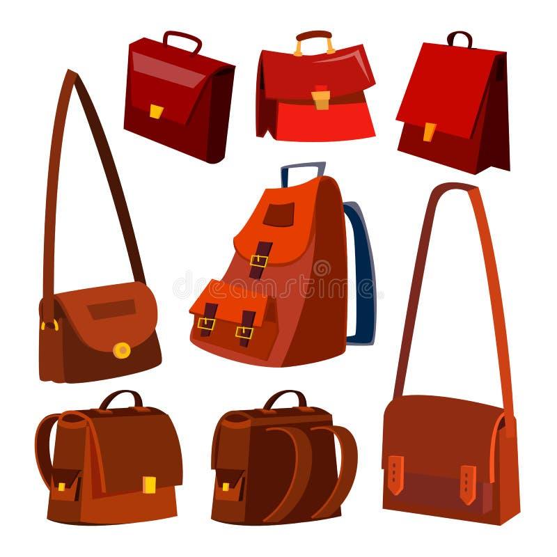 Vecteur d'ensemble de sac en cuir de Brown serviette Pour le mâle, femelle École et affaires Illustration d'isolement de bande de illustration de vecteur