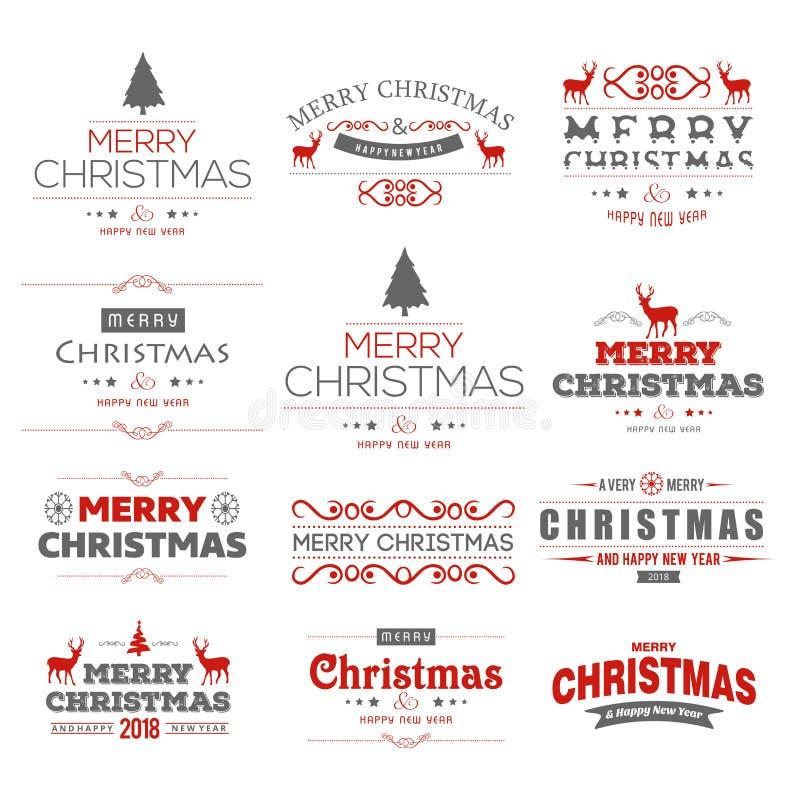 Vecteur d'ensemble de typographie de Joyeux Noël photo stock