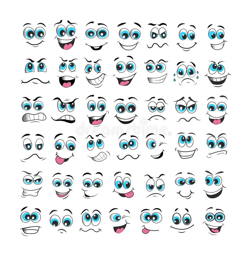 Vecteur d'ensemble d'expression de visage illustration de vecteur