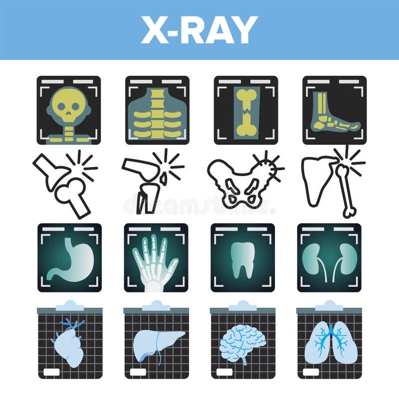 Vecteur d'ensemble d'icône de rayon X Balayage de radiologie Os humain cassé Symbole médical Structure de fracture Médecine d'hôp illustration libre de droits