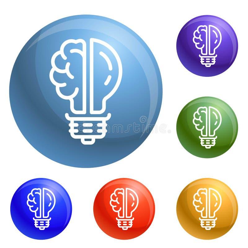 Vecteur d'ensemble d'icônes d'ampoule de cerveau illustration libre de droits