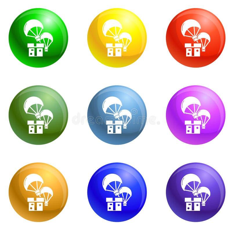 Vecteur d'ensemble d'icônes de boîte de parachute de donation illustration de vecteur