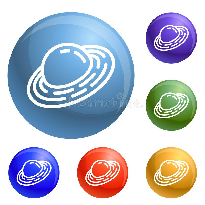 Vecteur d'ensemble d'icônes de planète de Saturn illustration libre de droits