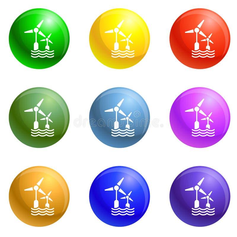Vecteur d'ensemble d'icônes de turbine de vague de vent illustration stock