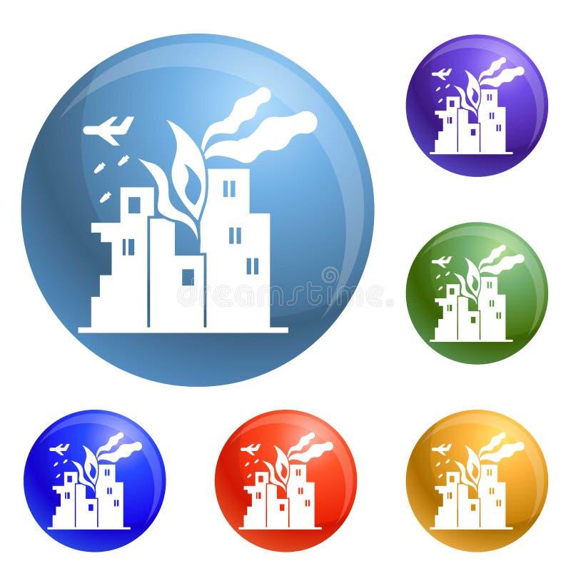 Vecteur d'ensemble d'icônes de ville du feu de guerre illustration stock