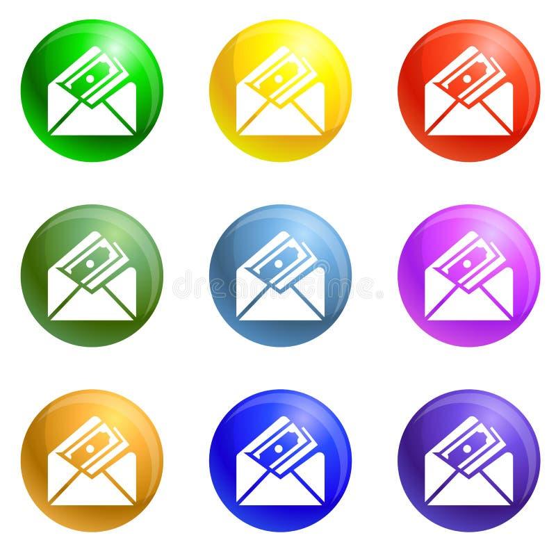 Vecteur d'ensemble d'icônes d'enveloppe d'argent illustration de vecteur
