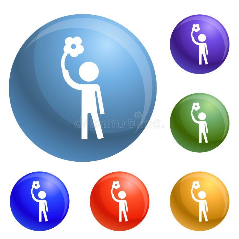 Vecteur d'ensemble d'icônes d'homme d'handicap illustration libre de droits