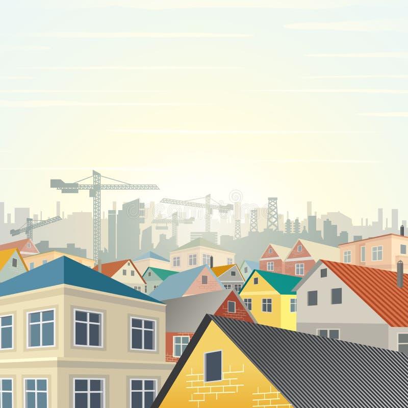 Vecteur d'ensemble immobilier privé illustration stock