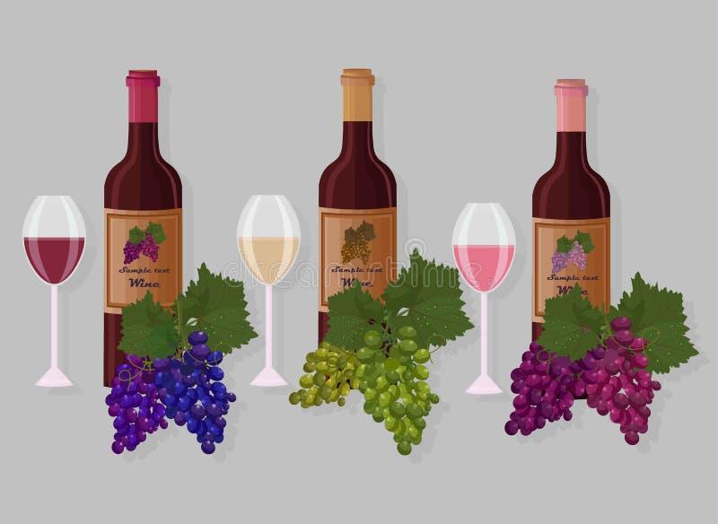 Vecteur d'ensembles de bouteilles de vin Le vin blanc, s'est levé, chardonet et raisins illustration de vecteur