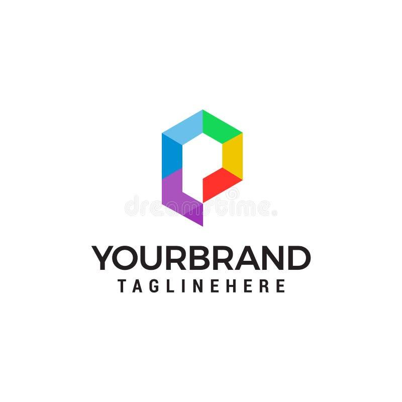 Vecteur d'entreprise de logo de la lettre P d'affaires Calibre coloré de vecteur de logo de la lettre p illustration libre de droits