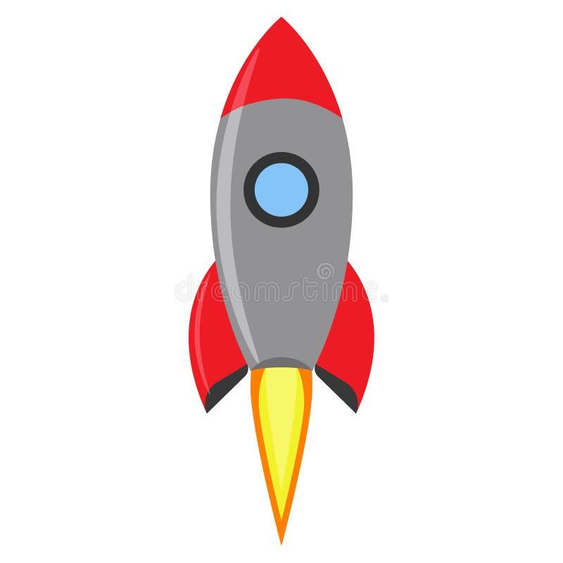 Vecteur d'espace créatif de lancement de Rocket Vaisseau spatial de rouge de symbole d'idée de vol Fond futuriste d'icône de nave illustration de vecteur