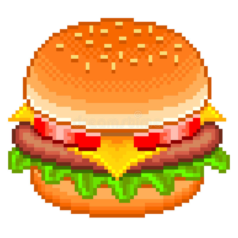 Vecteur d'hamburger de pixel illustration stock