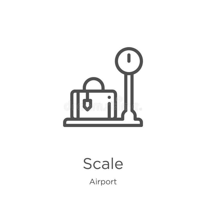 vecteur d'icône d'échelle de collection d'aéroport Ligne mince illustration de vecteur d'icône d'ensemble d'échelle Contour, lign illustration stock