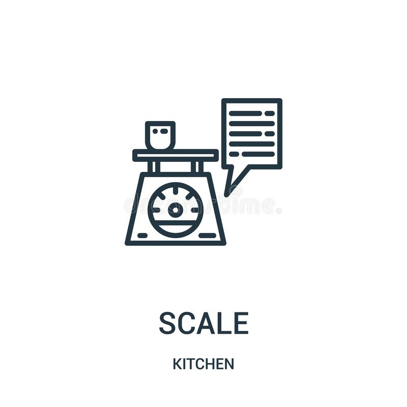 vecteur d'icône d'échelle de collection de cuisine Ligne mince illustration de vecteur d'icône d'ensemble d'échelle Symbole linéa illustration libre de droits