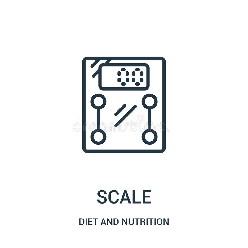 vecteur d'icône d'échelle de collection de régime et de nutrition Ligne mince illustration de vecteur d'ic?ne d'ensemble d'?chell illustration stock