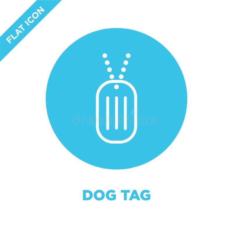 vecteur d'icône d'étiquette de chien de la collection militaire Ligne mince illustration de vecteur d'icône d'ensemble d'étiquett illustration de vecteur