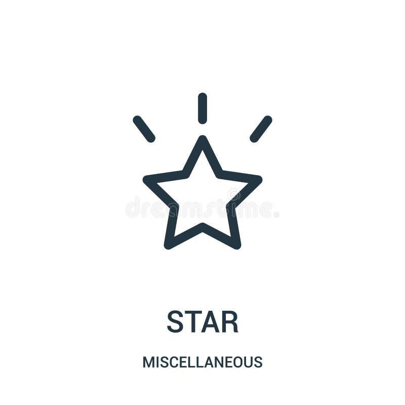 vecteur d'icône d'étoile de la collection diverse Ligne mince illustration de vecteur d'icône d'ensemble d'étoile Symbole linéair illustration libre de droits