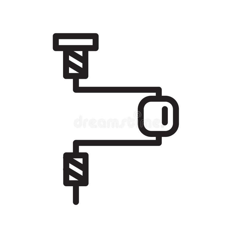 Vecteur d'icône d'accolade d'isolement sur le fond blanc, le signe d'accolade, la ligne symbole ou la conception linéaire d'éléme illustration stock