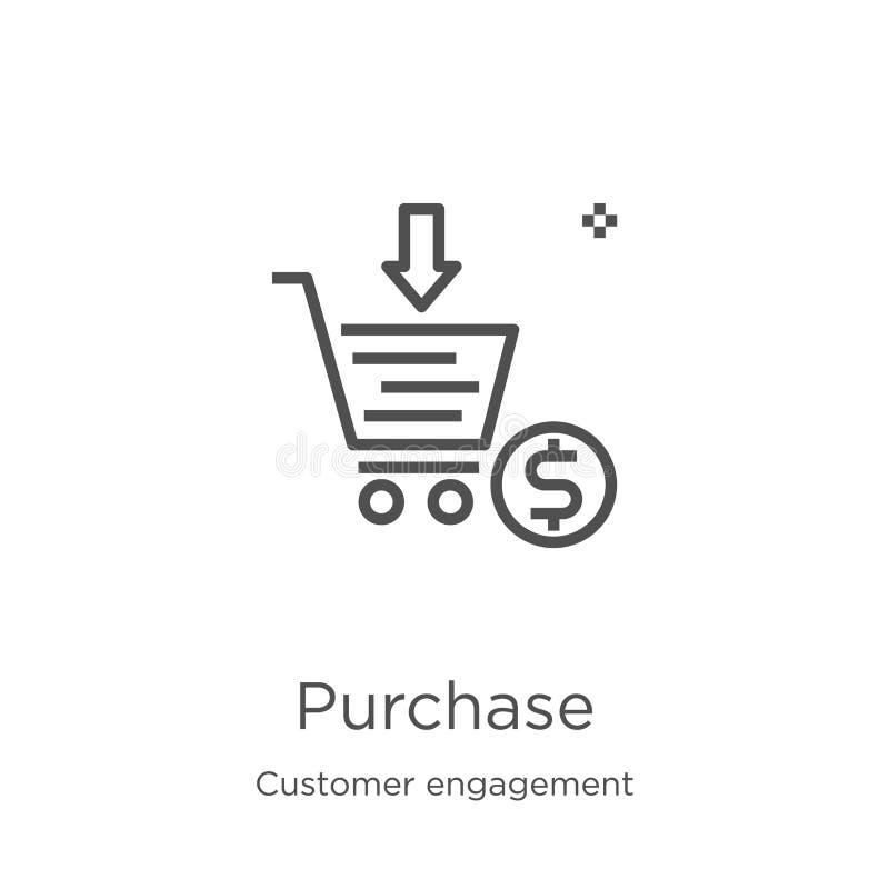 vecteur d'icône d'achat de collection d'engagement de client Ligne mince illustration de vecteur d'ic?ne d'ensemble d'achat Conto illustration de vecteur