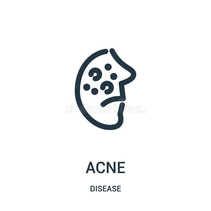 vecteur d'icône d'acné de collection de la maladie Ligne mince illustration de vecteur d'icône d'ensemble d'acné Symbole linéaire illustration libre de droits