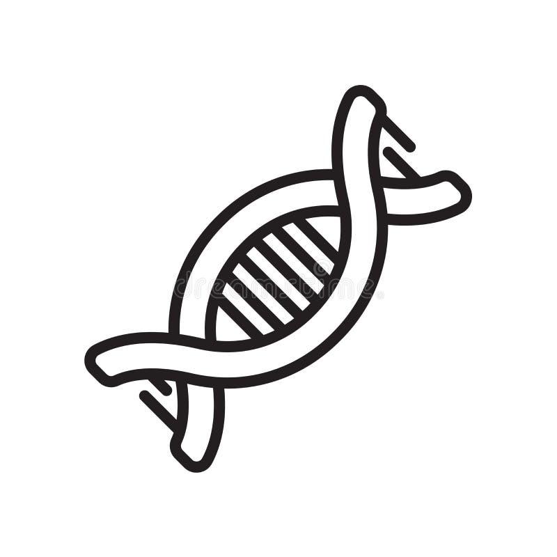 Vecteur d'icône d'ADN d'isolement sur le fond blanc, signe d'ADN, ligne ou illustration stock
