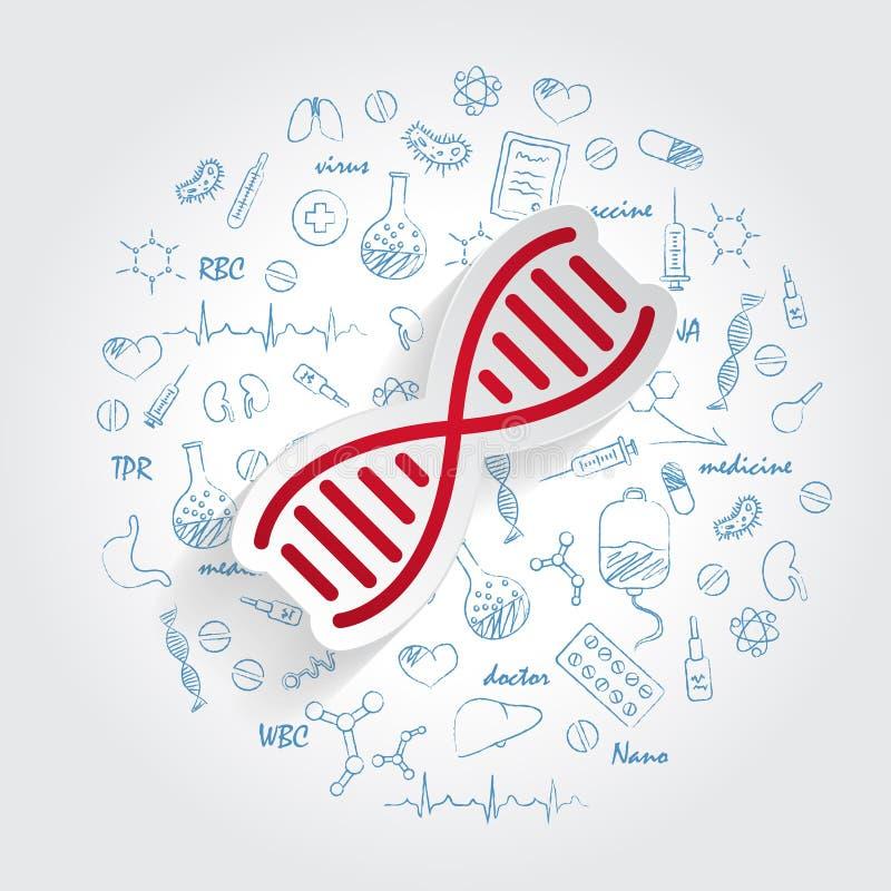 Vecteur d'icône d'ADN sur le fond tiré par la main de griffonnages de soins de santé Signe simple moderne d'évolution de la vie A illustration de vecteur