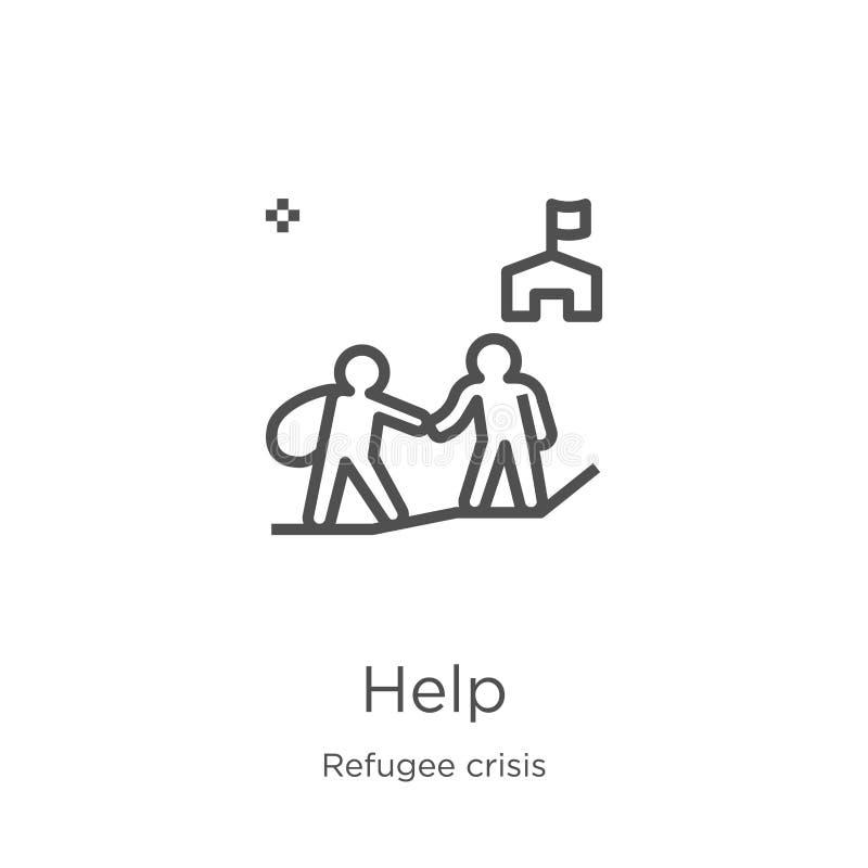 vecteur d'icône d'aide de collection de crise de réfugié Ligne mince illustration de vecteur d'icône d'ensemble d'aide Contour, l illustration de vecteur