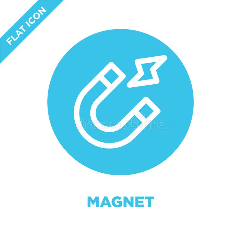 Vecteur d'icône d'aimant Ligne mince illustration de vecteur d'icône d'ensemble d'aimant symbole d'aimant pour l'usage sur le Web illustration stock