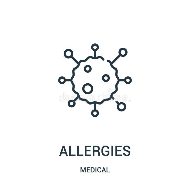 vecteur d'icône d'allergies de la collection médicale Ligne mince illustration de vecteur d'icône d'ensemble d'allergies illustration stock