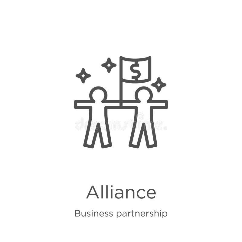 vecteur d'icône d'alliance de collection d'association d'affaires Ligne mince illustration de vecteur d'icône d'ensemble d'allian illustration libre de droits