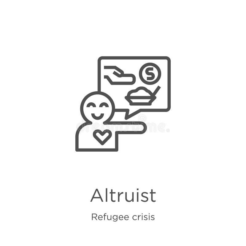 vecteur d'icône d'altruiste de collection de crise de réfugié Ligne mince illustration de vecteur d'icône d'ensemble d'altruiste  illustration de vecteur