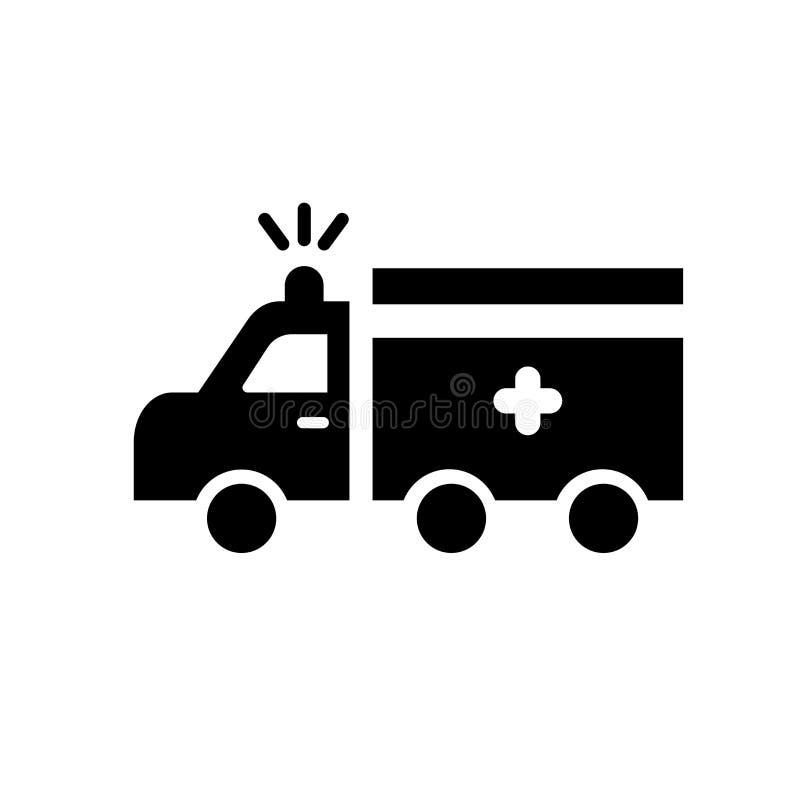 Vecteur d'icône d'ambulance d'isolement sur le fond blanc, signe d'ambulance illustration stock