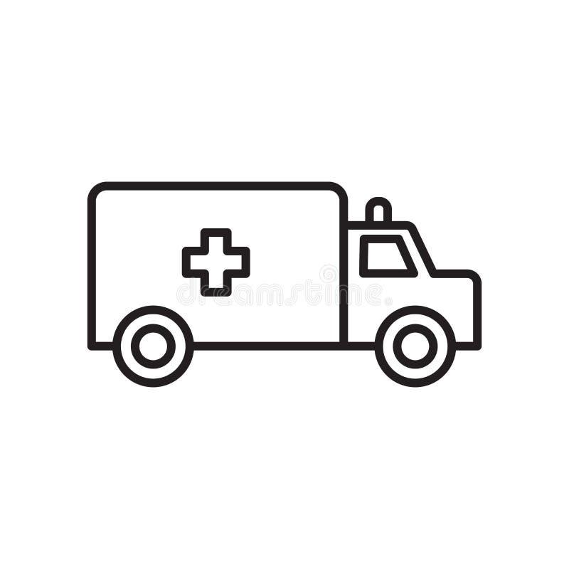 Vecteur d'icône d'ambulance d'isolement sur le fond, le signe d'ambulance, le signe et les symboles blancs dans le style linéaire illustration libre de droits