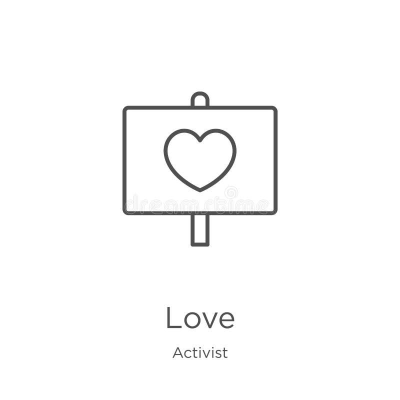 vecteur d'icône d'amour de collection d'activiste Ligne mince illustration de vecteur d'icône d'ensemble d'amour Contour, ligne m illustration libre de droits