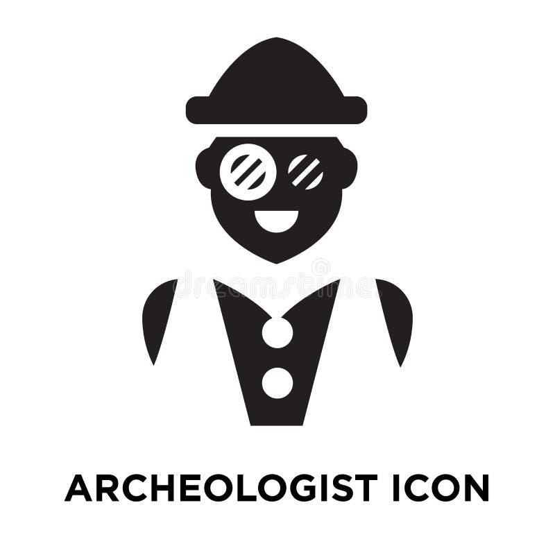 Vecteur d'icône d'archéologue d'isolement sur le fond blanc, logo concentré illustration stock