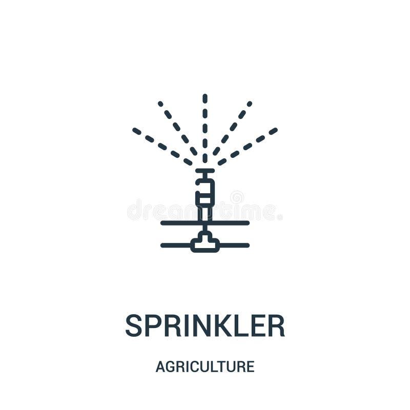 vecteur d'icône d'arroseuse de collection d'agriculture Ligne mince illustration de vecteur d'icône d'ensemble d'arroseuse Symbol illustration libre de droits
