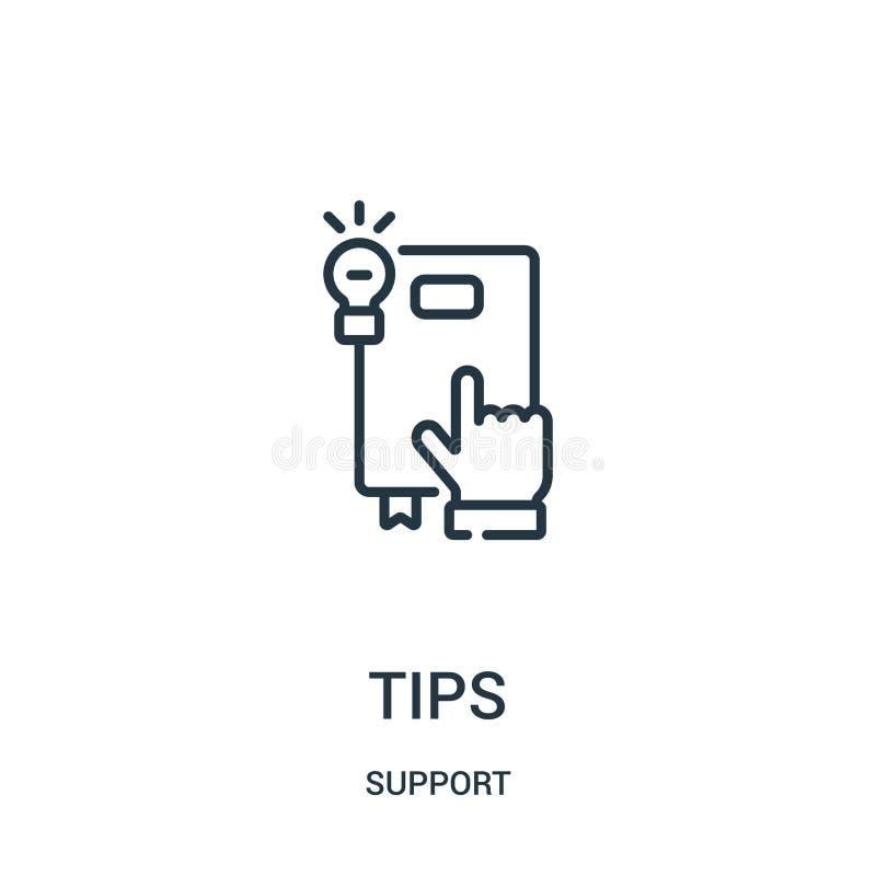 vecteur d'icône d'astuces de collection de soutien Ligne mince illustration de vecteur d'icône d'ensemble d'astuces Symbole linéa illustration stock