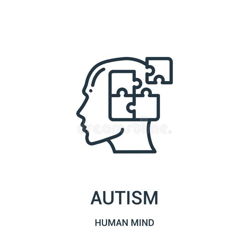 vecteur d'icône d'autisme de collection d'esprit humain Ligne mince illustration de vecteur d'icône d'ensemble d'autisme Symbole  illustration de vecteur