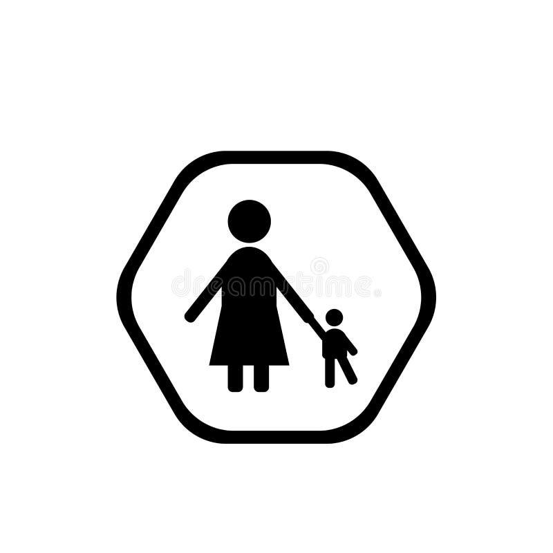 Vecteur d'icône de babysitter et d'enfant d'isolement sur le fond, le signe blancs de babysitter et d'enfant illustration stock