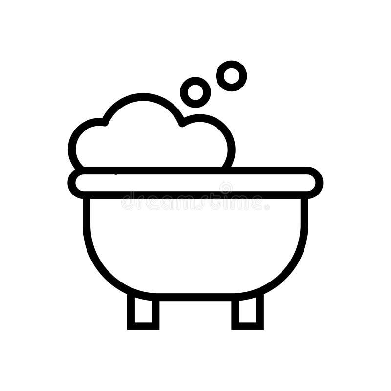 Vecteur d'icône de baignoire d'isolement sur le fond blanc, signe de baignoire illustration libre de droits