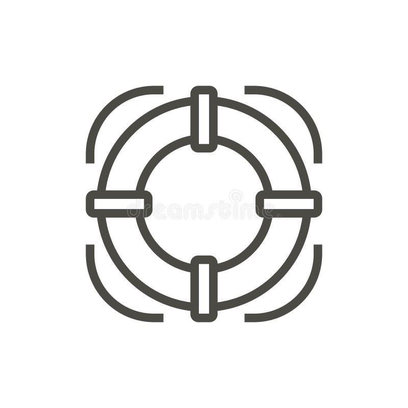 Vecteur d'icône de balise de vie Ligne symbole de bouée de sauvetage d'isolement Conception plate à la mode de signe d'ui d'ensem illustration stock