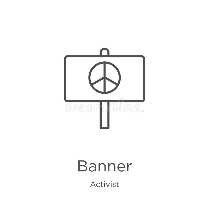 vecteur d'icône de bannière de collection d'activiste Ligne mince illustration de vecteur d'icône d'ensemble de bannière Contour, illustration libre de droits