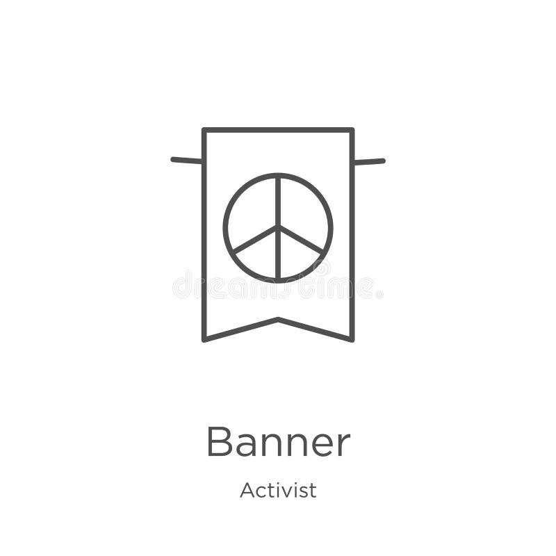 vecteur d'icône de bannière de collection d'activiste Ligne mince illustration de vecteur d'icône d'ensemble de bannière Contour, illustration stock